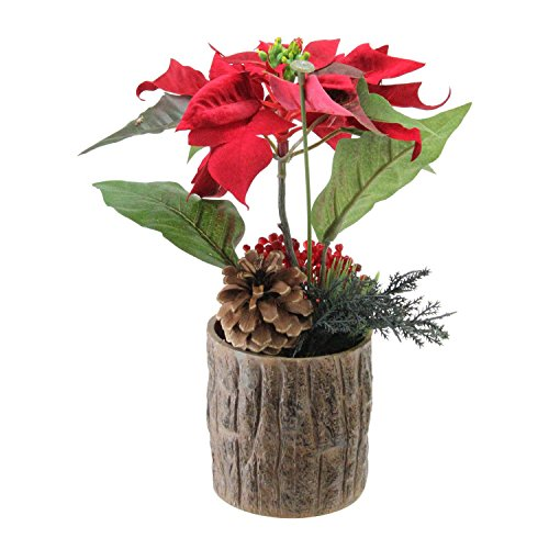 "Northlight 10"" Artificial Poinsettia with Pine Cone and Berries Decorative Potted Plant"