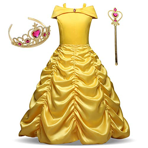 AiMiNa Girls Princess Belle Costume Fancy Dresses up Halloween Party With Accessories Age Of 3-4 Years(Yellow)]()