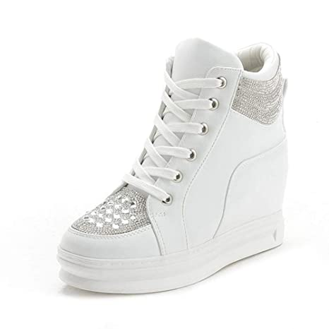 YSFU zapatillas Zapatillas De Deporte De Mujer High-Top Zapatos De Mujer Blancos Plataforma Rhinestone