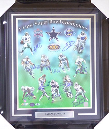 (3 TIME SUPER BOWL CHAMPION DALLAS COWBOYS AUTOGRAPHED FRAMED 16X20 PHOTO WITH 11 SIGNATURES INCLUDING EMMITT SMITH, AIKMAN, IRVIN & BROWN BECKETT BAS STOCK #123709)