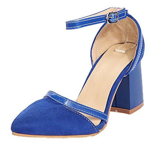 Heels Women Toe Buckle Blue Kitten Materials Blend Closed VogueZone009 Sandals SpRwqxBqZ
