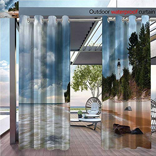 (DESPKON Non-humidifying and Breathable Style Sable Lighthouse in d Rock Natial Lakeshore Michigan USA for Elegant Floor-Down Window Decoration W120 x L108 INCH)