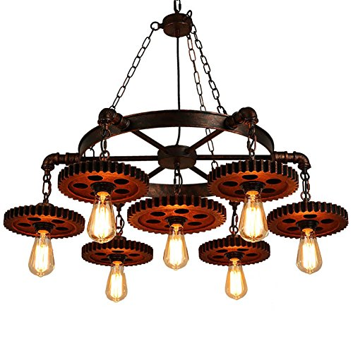 (Surpars House 7-Heads Rustic Chandelier Industrial Pendant Light for Restaurant,Bar,Coffee Room)