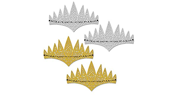Beistle 60665 Glittered Laser Cut Tiaras One size Gold//Silver