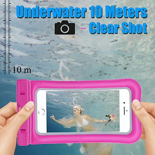 Venoro Universal Waterproof Case, IPX 8 Floating Waterproof Phone Pouch Underwater Dry Bag for iPhone X, 8/8 Plus, 7/7 Plus, Samsung Galaxy S9/S9 Plus, S8/S8 Plus, S7 Edge, LG V30, Moto G6 (2 Pack) by Venoro (Image #1)