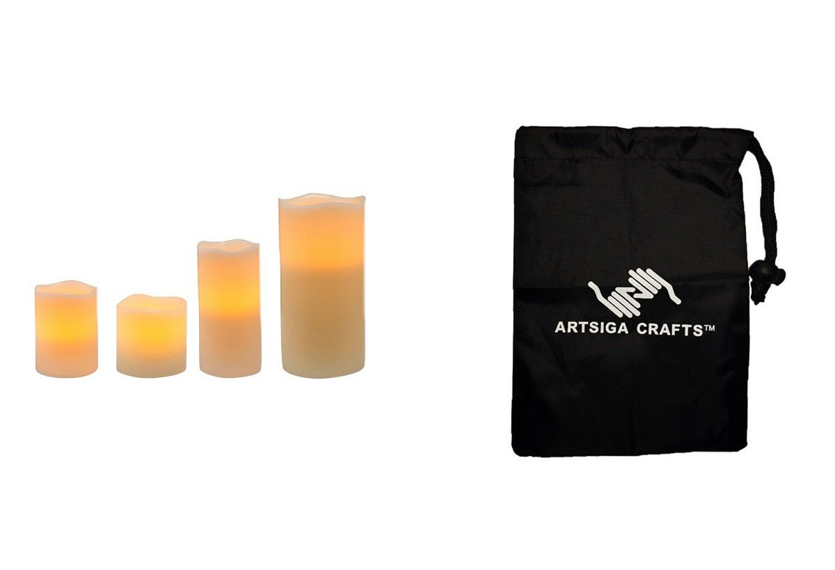 Darice Candle Pillar Flameless LED Wax 3X4 3X6 4X4.5 4X8 w/ Timer Vanilla Scent 3Pc (3 Pack) 30016003 bundled with 1 Artsiga Crafts Small Bag