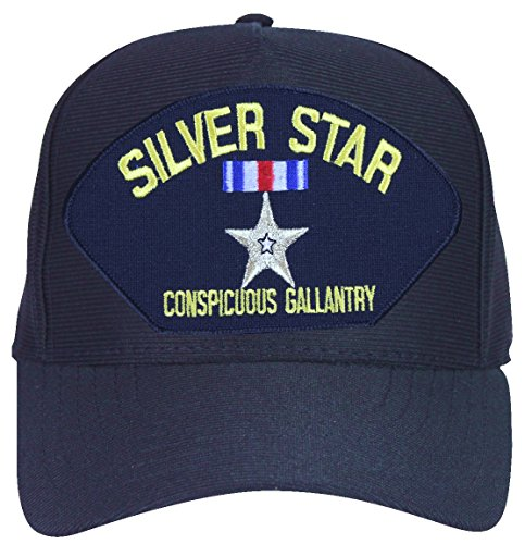 (Silver Star for Conspicuous Gallantry Ball Cap with Custom Back Text)