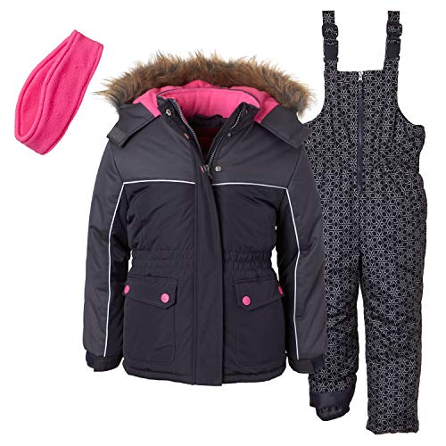 Pink Platinum Girls' Big Printed Super Snowsuit, geo Charcoal, - Snowsuit Super
