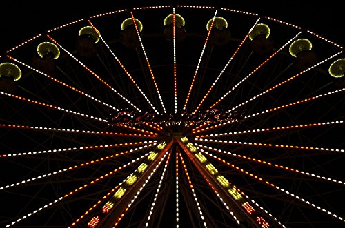 Home Comforts Acrylic Face Mounted Prints Lights Night Photograph Fair Ferris Wheel Night Print 18 x 24. Worry Free Wall Installation - Shadow Mount is Included.