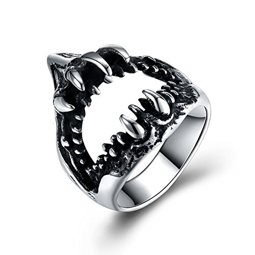 FILMA Men's Punk Rock Shark Teeth Demon Death Mouth Stainless Steel Party Dancing Vintage Gothic Biker Statement Band Round Ring Size 12 - Mouth Round Ring
