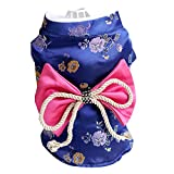 Creation Core Adorable Brocade Pet Kimono Dress Japanese Style Pet Dress Floral Bowknot Pet Costume for Dogs Cats, Navy Blue L