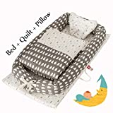 DOLDOA Baby Lounger for Bed,Portable Baby Nest for Newborn,100% Cotton Newborn Portable Bassinet Crib,Breathable and Hypoallergenic Sleep Nest Newborn Lounger Pillow for Bedroom/Travel Camping