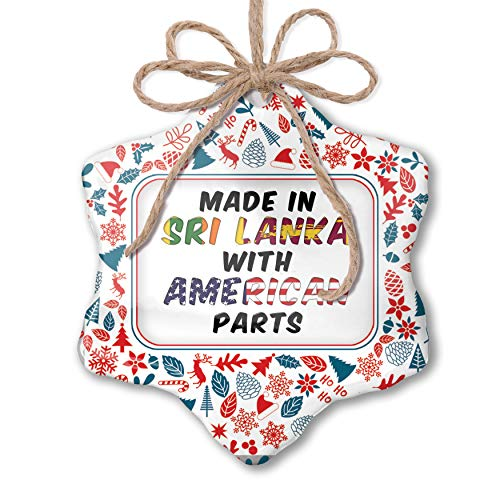 NEONBLOND Christmas Ornament American Parts but Made in Sri Lanka Red White Blue Xmas