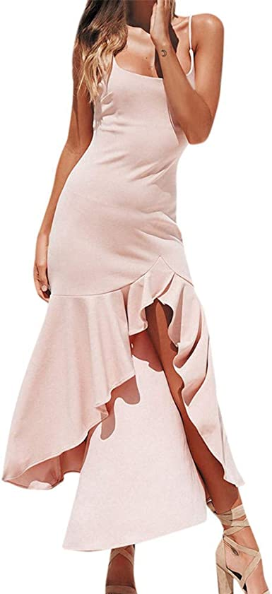 BAOHOKE Women Bodycon Irregular Ruffle Sling Dresses////Off Shoulder Casual Sleeveless Maxi Dress
