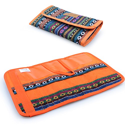 Cutlery Set Bag, 12 Slots Cutlery Storage Bag Portable Organiser Roll for Family Camping Picnic Travel cotton Orange, by LC (Cutlery Roll)