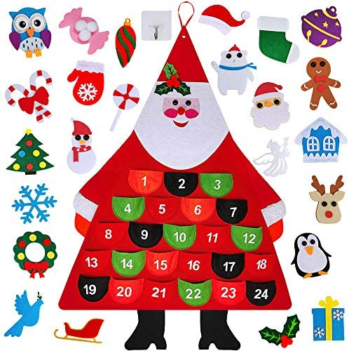 [해외]Winlyn Christmas Advent Calendar 2019 Wall Hanging Countdown Christmas Santa Felt Advent CalendarPockets 24 Days 24 Removable Xmas Ornaments for Kids Home Xmas Countdown Calendar Decoration / Winlyn Christmas Advent Calendar 2019 W...