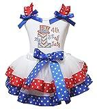 My Hat 1st 4th of July Dress Shirt Stars Red Blue Ribbon Petal Skirt Set Nb-8y (3-12 Months)