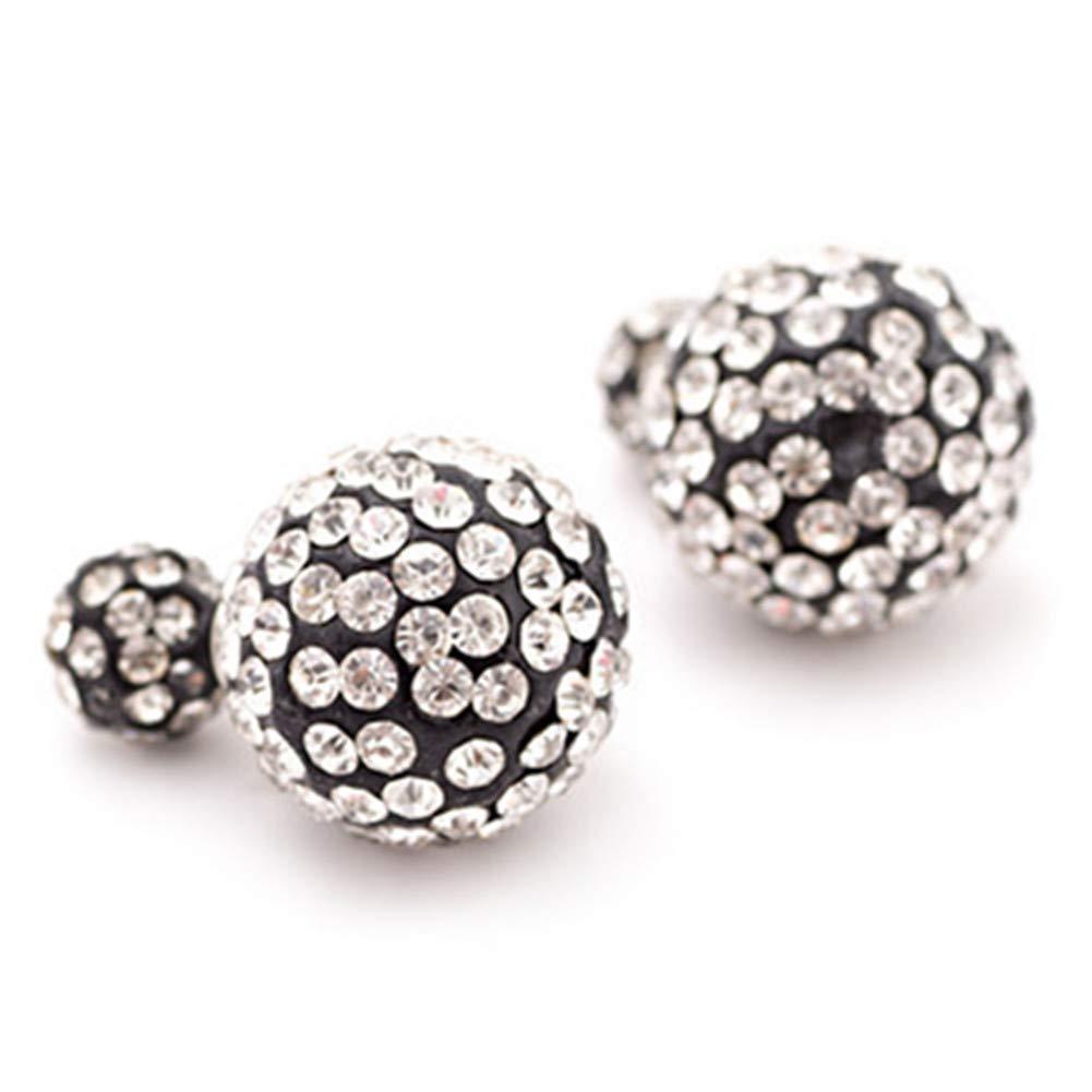 925 Sterling Silver Plated White Rhinestones double-sided Shambhala two Balls Stud Post Earrings
