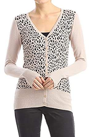 Bangbangusa Women Leopard Print V-neck Cardigan Sweater at Amazon ...