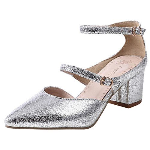 TAOFFEN Women Block Heel Court Shoes Silver wES1w7cY