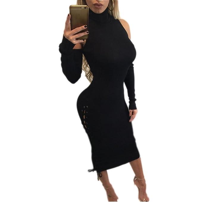 De Cuello Alto De Manga Larga Vestido Apretado Atractivo,Black-S