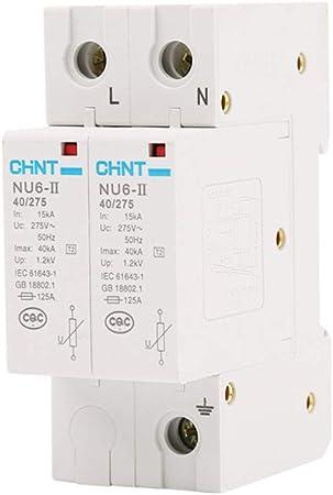 XIONGXI Parafoudre Miniature NU6-II 40kA 2P Parasurtenseur de Protection Contre la Foudre pour la Maison