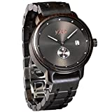 JORD Wooden Wrist Watches for Men - Hyde Series/Wood Watch Band/Wood Bezel/Analog Quartz Movement - Includes Watch Box (Ebony & Black)