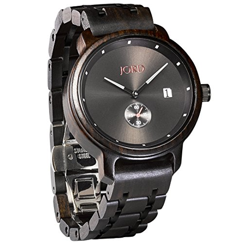 JORD Wooden Wrist Watches for Men - Hyde Series / Wood Watch Band / Wood Bezel / Analog Quartz Movement - Includes Wood Watch Box (Ebony & Black) by Jord