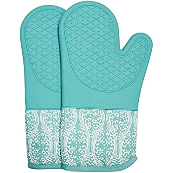RED LMLDETA Professional Microwave Silicone Oven Mitts for one Pair, Kitchen Lines Set for Heat Resistant with 500 Degrees, Kitchen Gloves Pot Holder for BBQ Cooking Baking (Light Blue)