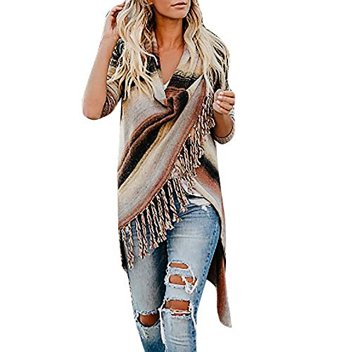 Aurorax Womens Boho Loose Shawl Print Kimono Long Cardigan Chiffon Cover Up Smock Beachwear Plus Size (Gradient Fringe Cardigan, L =Bust:47.2