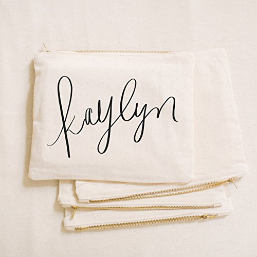 Personalized Cosmetic Bag - Calligraphy Name, Handmade in the USA, make up, pencil case, clutch, wedding favor, present, bridesmaid gift, women's gift by PCB Home