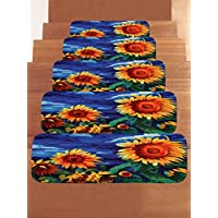 WCHUANG Blue Yellow Sunflowers Stair Treads Non-slip Carpet, Rectangle Stair Rugs Pads, Indoor Outdoor Rubber Mats for Staircase, Set of 5