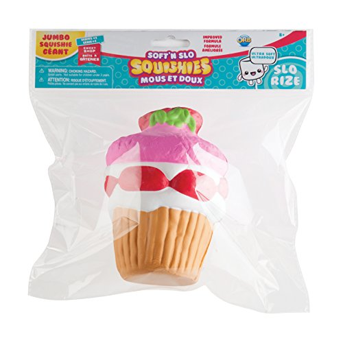 """The Orb Factory Jumbo Strawberry Cupcake Soft'n Slo Squishies, Pink/Red/White, 10.83"""" x 9.25'' x 3.50"""""""