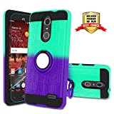 ZTE Grand X4 Z956 Case with HD Screen Protector,ZTE Blade Spark Case,Atump 360 Degree Rotating Holder Cover Phone Case with Ring Magnetic Car Mount Kickstand for ZTE Grand X 4 Z956 Mint/Purple