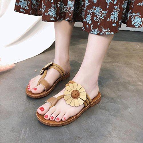 Voberry Sandalen Mode Frauen Blume Flache Ferse Anti Skidding Strand Schuhe Sandalen Slipper