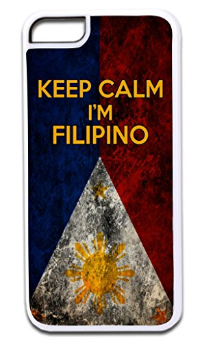 Keep Calm I'm Filipino TM Apple Iphone 4, 4s White Plastic Case with Soft Black Rubber Lining Made in the U.S.A.