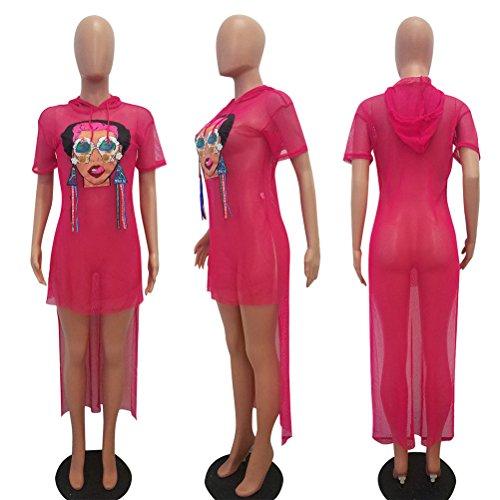 Girls Red Mesh See Nightclub Rose Dress Irregular Through Printed Graffiti Hoodie Dovetail Womens Sexy 5OqxX