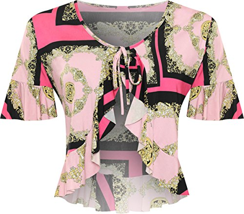 WearAll Women's Plus Baroque Scarf Print Frill Short Sleeve Cardigan Shrug Top - Pink - US 22-24 (UK 26-28) - Frill Detail Cardigan