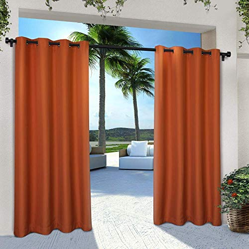 (Exclusive Home Curtains Indoor/Outdoor Solid Cabana Window Curtain Panel Pair with Grommet Top, 54x96, Mecca Orange, 2 Piece )