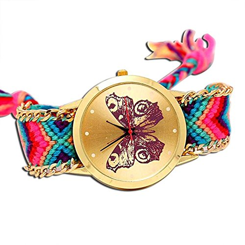 Price comparison product image MINILUJIA Adjustable Bohemia Charm Butterfly Gold Dial Watch with Colorful Rope Braid Band Women Bracelet Watch (Pink)