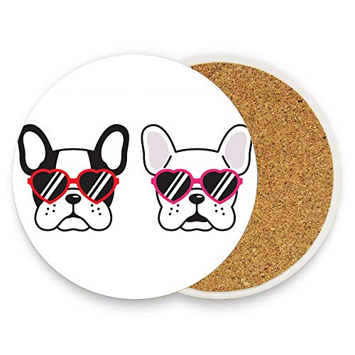 Dog Vector French Bulldog Heart Sunglasses Puppy Absorbent Ceramic Stone Drinks Coaster Coffee Cup Mat for Home Office Bar Kitchen 1 Pack