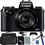 Canon PowerShot G5 X Digital Camera - International Version (No Warranty) 32GB Bundle 14PC Accessory Kit Which Includes Replacement NB-13L Battery, 5 Piece Camera Cleaning Kit, MORE
