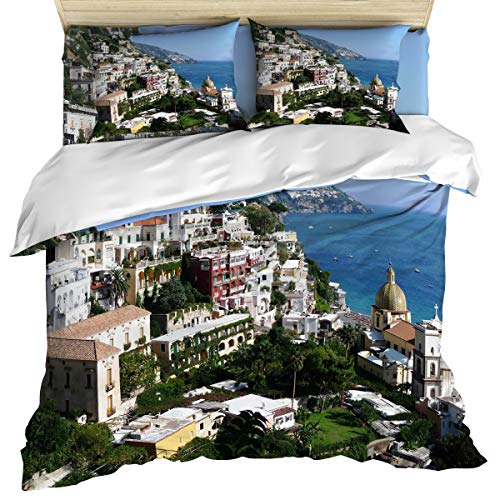 California King 4 Piece Bedding Set Comforter Cover Set, Beautiful Bay and Famous Resort of Amalfi,Campania Region,Italy, Duvet Cover Set Soft and Breathable with Zipper Closure for Kids/Teens/Adults