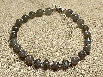 fdaa370779ee Pulsera de plata de ley y piedras preciosas cuentas de labradorita bolas de  5 mm  Amazon.es  Hogar
