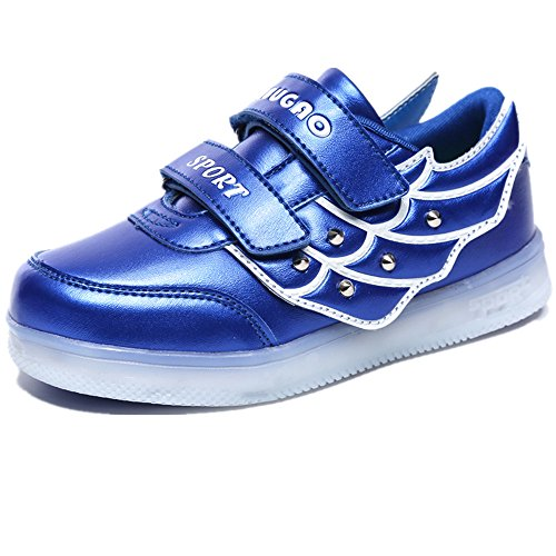 Hanglin Trade Boys Girls Led Light Up Shoes 11 Colors Flashing Rechargeable Sneakers for Christmas Halloween Birthday(Blue 2 10 M US Toddler)