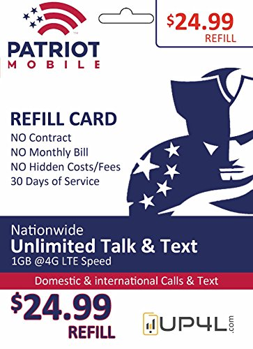 Patriot Mobile Prepaid Airtime Refill Card - $24.99 ReUp Airtime Card by Patriot