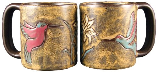 Set Of Two (2) MARA STONEWARE COLLECTION – 16 Oz. Coffee Cup Collectible Dinner Mugs – Hummingbird  Flowers
