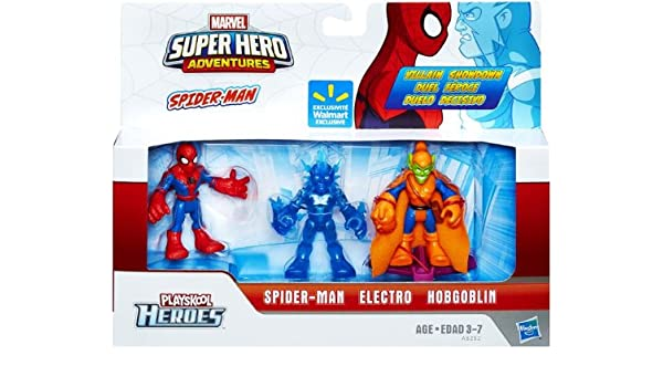 Marvel Playskool Super Hero Adventures Exclusive Mini Figure Spider-Man, Electro & Hobgoblin by Super Hero Adventures: Amazon.es: Juguetes y juegos