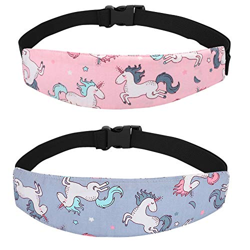 - Accmor Baby Carseat Head Strap Toddler 2 Pack Unicorn Carseat Head Support for Stroller Neck Relief for Child Kids Infant(Pink Unicorn, Grey Unicorn)