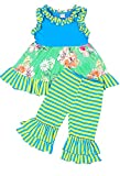 Angeline Boutique Clothing Girls Spring Floral Ruffles Capri Playwear Set 12-18M (Tagged 80)